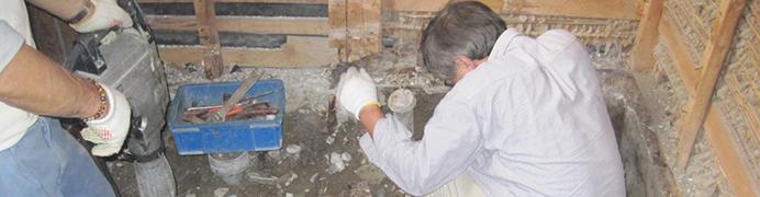 古い浴室の解体